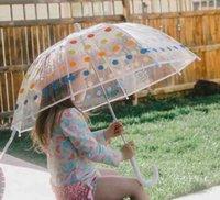 Mode Kinder Regen Getriebe Pagode Transparente Regenschirm Lange Griffe Gerade Gipfel Cartoon Auto Bunte Polka Dots Lächeln Gedruckt Sonnenschirme A6171