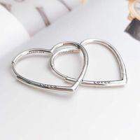 S925 Silver Big Heart Hoop Earring med Clear CZ Stone Original Box för Pandora Smycken Kvinnors julklapp