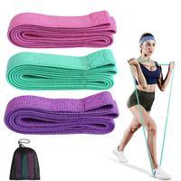 Bandas de resistência 3 pcs tecido espólio pernas de pano longa Buexercise Elastic Hip Fitness Workout Força Treinamento Loops