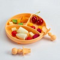 100% Aprovação de talheres de silicone Bebê de silicone com placa de ventosa placa da criança e colher garfo portátil Kids food tigela conjunto Dropshipping 1946 y2