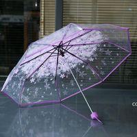 100pcs lot Transparent Clear Umbrella Handle Windproof 3 Fold Umbrella Cherry Blossom Mushroom Apollo Sakura women Girl's Umbrella DHE1