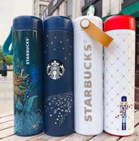 Simple 500 ml con caja de la marca de la marca Letra Starbucks Aislamiento térmico Hidratado de vacío Botella de agua Tazas Tazas de café Hombres Mujeres Acero inoxidable Real