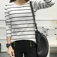 Women's T-Shirt Womens Cotton T Shirts Long Sleeve 2021 Autumn O-Neck Striped Female Women White Black Casual Basic Classic Tops