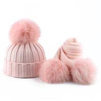 Bambino Inverno Cappello e Sciarpa per Ragazze Ragazzi Bambini Real Fox Pelliccia di volpe Pompon Knitting Beanie Cappelli Bambini 3 pezzi Pom Pom Cappello