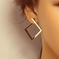Retro Minimalist Square Earring Irregular Stud Earrings Exaggerated Cold Wind Fashion Ear Ring for Women Opening Accessories