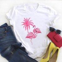 Cartoon Flamingo Beach Vacation Fashion Womens T Shirts Print Summer Tee Clothes Graphic