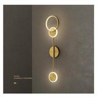 Настенная лампа ArtPad Nordic Luxury Indoor LED для спальни Прицел фона Золотая железная декорация Творческий Sconce 220V