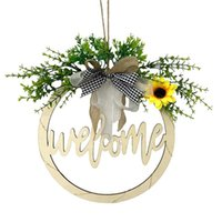 Decorative Flowers & Wreaths Artificial Round Wall Farmhouse Hanging Spring Home Decorations Sunflower With Light Wooden Sign Door Pendant