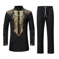 Hommes African Dashiki Pantalon de chemise Set 2 pièces Vêtements ethniques Vêtements Hommes Vêtements Streetwear Afrique Costume