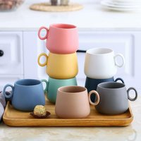 Tasse de café de luxe Vintage Tasse de café en céramique en plein air enfants rétro mignon cadeau esthétique tazas de café créevas ba60