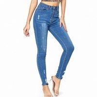 Blue Denim Cowboy Summer 2020 Nouveau jeans Taille haute Femme Stretch Hip Slim Slim Fit Skinny Skinny Pieds Neuf Points Pantalon crayon C5Fu #