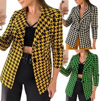 Women's Suits & Blazers 2021 Autumn Jacket Small Suit Houndstooth Fashion Casual Lady Single Button Top Fall For Women