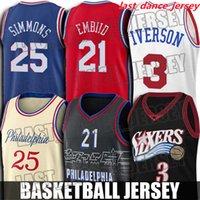 Throwback Allen 3 Iverson Jersey Ben 25 Simmons Joel 21 Embiid Jerseys Julius 6 Arving Basketball Jersey 필라델피아76ers.저지