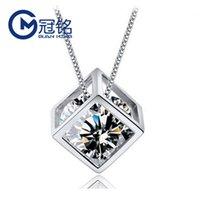 colar guanming s925 puro prata escavado para fora cubo de rubik pingente coreano pequeno quadrado colar de personalidade das mulheres curtas