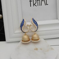 Retro Bollywood Kundan Peacock Jhumka Jhumki Drop Earrings Gypsy Jewelry Dangle & Chandelier