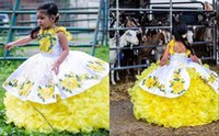 Modest Mexican Bianco Yellow Mini Pageant Quinceanera Abiti per bambine Halter 3D Floral Floral Flower Pizzo Flower Girl First Communione Dress