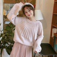 الكورية الأزياء الحلوة فانوس طويل الأكمام بووتي الدانتيل متابعة سترة المرأة محبوك فضفاضة بلون لاعبا بلوفر