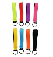 Party Favor Solid Color Neoprene Wristlet Keychains Lanyard Strap Band Split Ring Key Chain Holder Key Hand Wrist Lanyard Keychain Festive Favors ZC242