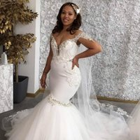 Vintage White Mermaid Wedding Dresses Beaded Sequined Tulle Skirt Off the Shoulder Bridal Gown With Veil