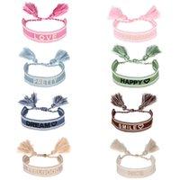 Boho Braided Tassel Bracelet Women Embroidery Letters Bracelets Fashion Jewelry Gift for Love Friend 8 Colors
