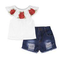 Toddler Summer Baby Kids Girls Vestiti 3D Stampa floreale senza maniche Ruffle Round Neck Pullover T-shirt T-shirt Denim Hole Pants 2pc cotone set 55 Z2