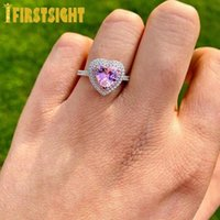 Wedding Rings Iced Out Bling 5A CZ Diamond Hearts Two Tone Color Cut Full Band Engagment White Pink Stone Ring For Women