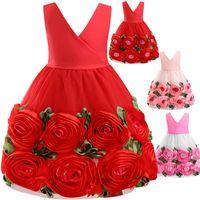 Baby Girls Floral Princess Dress Kids Sleeveless Rose Flower Dress Wedding Party Prom Dresses Children Fashion Bow Pleated Dress 3099 Q2