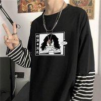 Japon Anime Benim Kahraman Academia Erkekler Sahte İki Adet T-shirt Harajuku Karikatür Shouta Aizawa Baskı Uzun Kollu Çizgili T Shirt Erkekler T-Shi