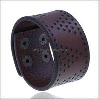 Cuff Bracelets Jewelrypunk Retro Vintage Mens Simple Punching Wide Leather Bracelet Drop Delivery 2021 Fv04U