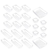 Storage Bags Set Of 23 Desk Drawer Organiser Trays With 4-Size Clear Plastic Boxes Divider Make-Up For Office