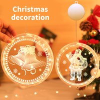 LED Christmas Lights 3D Disc Hanging Light Bells Snowflake Battery String Tree Bedroom Decoration