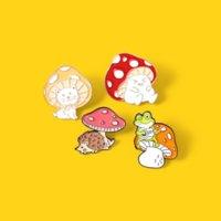 Coloroful Cogumelo Pins Broches Animal Esmalte Brooch Lapel Pin Badge Moda Jóias Para As Mulheres Crianças Vontade e Sandy