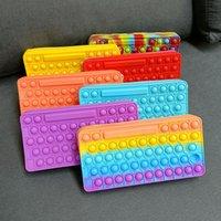 Fidget Toys Push Bubble Pencil Case Silicone Purse Favor Sensory Puzzles Rainbow Pen Bag Pop Bubbles Finger School Pouch Educational Decompression Toy 7 Colors