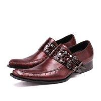 Fivela de moda strass meninos vestido sapatos de couro genuíno vermelho sapatos formais plus size macho negócios calçados