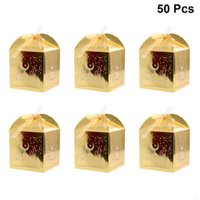 50pcs Hollow Eid Pattern Candy Box Paper Chocolate Bag Gift Container for Wedding Festival (Golden)