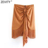 Zevity Donne Fashion Solid annodato orlo nappa Casual Slim Gonna Faldas Mujer Ufficio Ladies Back Zipper Chic Mini Vestido QUN697