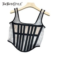 TWOTWINSTYLE Sexy Patchwork Vest For Women Square Collar Sleeveless Slim Party Short Tank Tops Female Fashion New Clothes 210326
