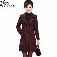 Uhytgf autunno autunno cappotto di lana donna donna plaid elegante giacca femminile elegante doppio petto casual 5xl plus size cappotti di lana 1050 i66u #