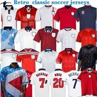 الرجعية جيرسي 1982 1994 1998 2002 كأس العالم إنجلترا لكرة القدم الفانيلة الرئيسية أطقم beckham gascoigne اوين جيرارد الرجعية كلاسيك لكرة القدم قميص