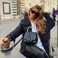 Women's Wool & Blends Foridol Tweed Plaid Black Winter Jackets Coats Women Oevrsized Casal Streetwear Chic Knitted Tops Pockets Buttons Jack