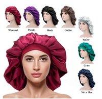 Extra Large Bonnet Hat Hair Accessories Women Big Size Beauty Print Satin Silk Sleep Night Cap Head Cover Bonnets Hats
