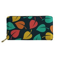 Wallets HYCOOL Colorful Leaves Pattern Women Ladies Clutch Bags Long PU Leather Zipper Purse Functional Phone Card Holder Pouch