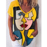 Lose T-Shirts Frauen Jumper Kurzarm V-Ausschnitt Tops Frau Pullover Weibliche Cartoon Sexy Mode Mädchen Tuch Unterhit AC0575 Damen T-Shir