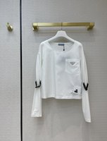 Milan Runway Tops Tops Tees 2021 O Cuello de manga larga Impresión Diseñador de la marca Marca MISMO estilo camiseta 0320-9