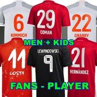 팬 플레이어 버전 20 21 Sane Lewandowski Coman Gnabry Alaba Davies Muller Kimmich 축구 유니폼 HRFC 2020 2021 축구 셔츠 남자 아이들 유니폼 바이에른 뮌헨