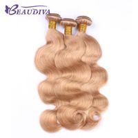 Human Hair Bulks BEAUDIVA Pre-Colored Brazilian Body Wave Weave Bundles Blonde 27# Remy