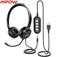 Fone de ouvido fones de ouvido com fio mtow com redução de ruído Mic 3.5mm / USB Plug Fone de ouvido para Skype Call Center PC Phone Pad