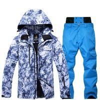 Лыжные лыжные куртки -30 Graden зима Дикке теплый Skipak Mannen Winddicht Waterdicht Skiën en Snowboarden костюмы Jas Brokek Mannelijke Sneeuw Overal