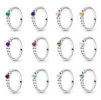 2021 Bahar Pandora Yüzük 925 Ayar Gümüş Boncuk Renk Yüzükler Orijinal Moda DIY Charms Takı Kadınlar Için Yapımı