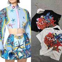 바로크 스타일 불가사리 인쇄 탑 + 높은 허리 치마 두 조각 드레스 (티셔츠)